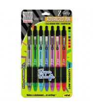Zebra Z-Grip Neon 1.0 mm Medium Retractable Ballpoint Pen, Assorted, 7-Pack