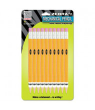 Zebra #2 0.7 mm Yellow Mechanical Pencils, 10-Pack