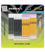 Zebra #2 0.7 mm Yellow & Black Mechanical Pencils, 28-Pack