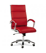 Alera Neratoli NR4139 Slim Profile Leather High-Back Executive Office Chair, Red