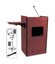 AmpliVox Multimedia Computer Lectern with Wireless Sound System, Mahogany