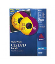 Avery Inkjet CD/DVD Labels, Matte White, 40/Pack