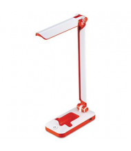 "Black & Decker 17.5"" H LED Fold Desk Lamp, White/Red"