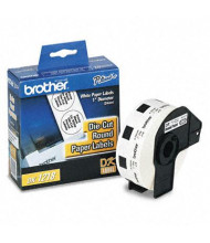 """Brother DK1218 Die-Cut 1"""" Round Paper Label Roll, White, 1000/Roll"""