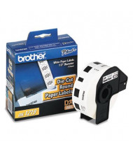 "Brother DK1219 Die-Cut 1/2"" Round Paper Label Roll, White, 1200/Roll"