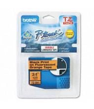 "Brother P-Touch TZEB41 TZe Series 3/4"" x 16.4 ft. Standard Labeling Tape, Black on Orange"