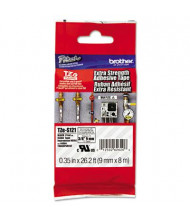 "Brother P-Touch TZES121 TZe Series 3/8"" x 26.2 ft. Labeling Tape, Black on Clear"