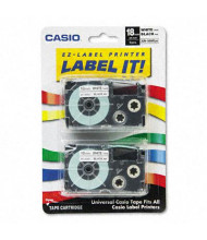 Casio KL XR18WE2S 18 mm x 26 ft. Label Tape Cassette, Black on White, 2/Pack