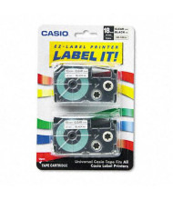 Casio KL XR18X2S 18 mm x 26 ft. Label Tape Cassette, Black on Clear, 2/Pack