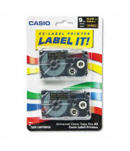 Casio KL XR9BKG2S 9 mm x 26 ft. Label Tape Cassette, Gold on Black, 2/Pack