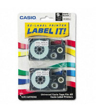 Casio KL XR9WE2S 9 mm x 26 ft. Label Tape Cassette, Black on White, 2/Pack