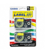 Casio KL XR9YW2S 9 mm x 26 ft. Label Tape Cassette, Black on Yellow, 2/Pack