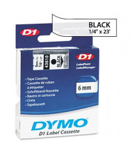 "Dymo D1 43610 Polyester 1/4"" x 23 ft. Label Maker Tape, Black on Clear"