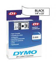 """Dymo D1 43613 Polyester 1/4"""" x 23 ft. Label Maker Tape, Black on White"""