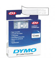 """Dymo D1 45020 Polyester 1/2"""" x 23 ft. Label Maker Tape, White on Clear"""