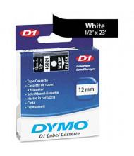 """Dymo D1 45021 Polyester 1/2"""" x 23 ft. Label Maker Tape, White on Black"""