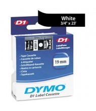 """Dymo D1 45811 Polyester 3/4"""" x 23 ft. Label Maker Tape, White on Black"""