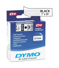 "Dymo D1 53710 Polyester 1"" x 23 ft. Label Maker Tape, Black on Clear"