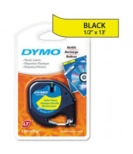 "Dymo LetraTag 91332 Polyester 1/2"" x 13 ft. Label Tape Cassette, Hyper Yellow"
