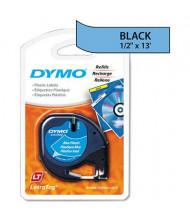 """Dymo LetraTag 91335 Plastic 1/2"""" x 13 ft. Label Tape Cassette, Ultra Blue"""