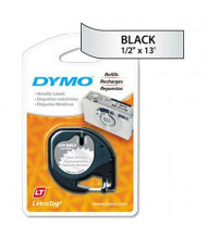 "Dymo LetraTag 91338 Metallic 1/2"" x 13 ft. Label Tape Cassette, Silver"