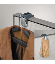 Fellowes Pro 1-Garment Partition Additions Coat Hook and Clip, Slate Gray
