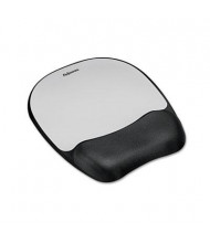 "Fellowes 8"" x 9-1/4"" Mouse Pad with Memory Foam Wrist Rest, Silver"