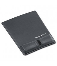 """Fellowes 8-1/4"""" x 9-7/8"""" Microban Mouse Pad with Gel Wrist Support, Graphite"""