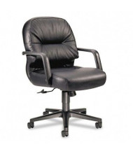 HON Pillow-Soft 2092 Leather Mid-Back Managers Chair, Black
