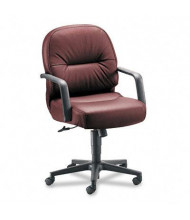 HON Pillow-Soft 2092 Leather Mid-Back Managers Chair, Burgundy