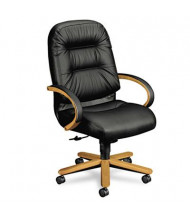 HON Pillow-Soft 2191 Leather Wood High-Back Executive Office Chair, Harvest