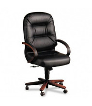 HON Pillow-Soft 2191 Leather Wood High-Back Executive Office Chair, Mahogany