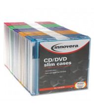 Innovera 50-Pack CD & DVD Thin Line Storage Cases, Assorted Colors