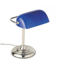 "Ledu 14"" H Traditional Incandescent Banker's Lamp, Blue/Chrome"