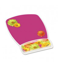 "3M 9-1/8"" x 6-3/4"" Fun Design Clear Gel Mouse Pad Wrist Rest, Daisy Design"