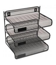 """Rolodex 9-3/8"""" H Mesh Three-Tier Desk Shelf, Black"""
