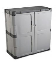 "Rubbermaid 7085 36"" W x 18"" D x 36"" H Double-Door Storage Cabinet, Grey and Black"