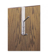 Safco 2-Garment Over-The-Door Coat Hook, Satin Aluminum/Chrome