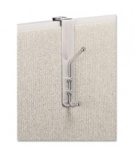 Safco 2-Garment Over-The-Panel Coat Hook, Satin Aluminum/Chrome