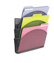 """Safco Onyx 3-Pocket 13"""" x 13-1/2"""" Magnetic Mesh Panel File Pocket, Black"""