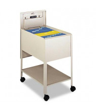 """Safco Extra-Deep 17"""" W Locking Mobile Tub File Cart, Putty"""