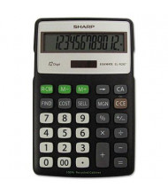 Sharp EL-R287BBK Recycled 12-Digit Semi-Desk Display Calculator with Kickstand