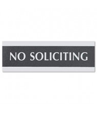 "Headline Century 9"" W x 3"" H No Soliciting Office Sign"