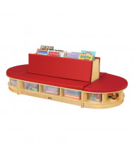 Jonti-Craft Read-a-Round Couch & Bench Classroom Storage Set (Shown in Red)