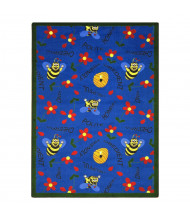 Joy Carpets Bee Attitudes Rectangle Classroom Rug, Blue