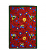 Joy Carpets Bee Attitudes Rectangle Classroom Rug, Red