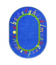 Joy Carpets AlphaScript Classroom Rug, Blue (Shown in Oval)