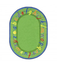 Joy Carpets AlphaScript Classroom Rug, Green (Shown in Oval)