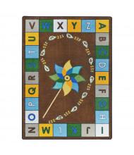 Joy Carpets Alphabet Pinwheel Classroom Rug, Earthtone