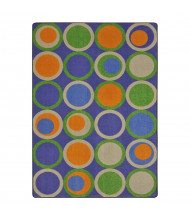 Joy Carpets Circle Back Pattern Circle Rectangle Classroom Rug, Violet